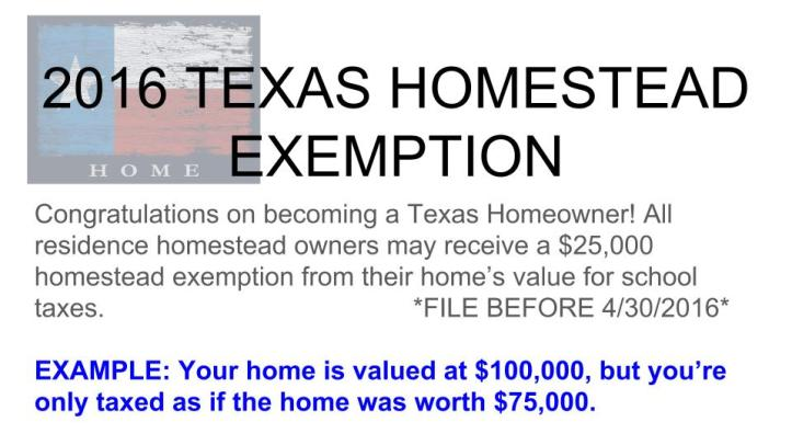2016 TEXAS HOMESTEAD EXEMPTION